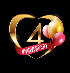 template gold logo 4 years anniversary with ribbon vector image
