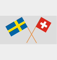 The crossed switzerland and sweden flags vector