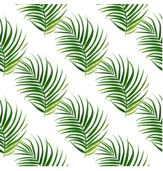 Tropical palm leaves background seamless vector