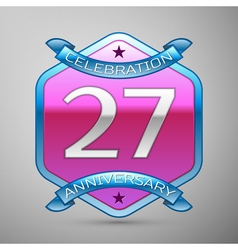 Twenty seven years anniversary celebration silver vector