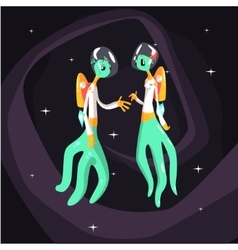 Two green extraterrestrial beings in space suits vector