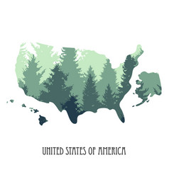 usa map with tree silhouettes vector image