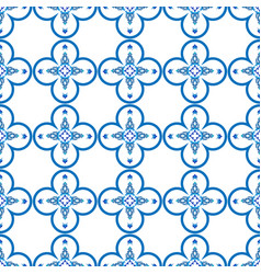 Vintage seamless pattern in portugal style azulejo vector