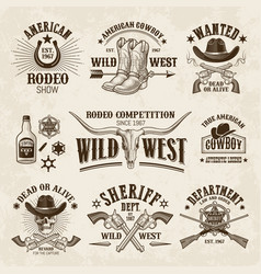 vintage western labels and badges set vector image
