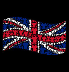 Waving british flag pattern of lady t-shirt items vector