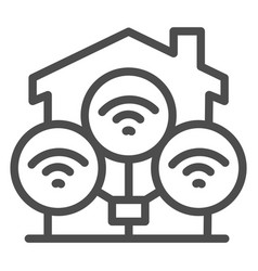 wifi connection in house line icon smart home vector image