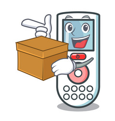 With box remote control character cartoon vector