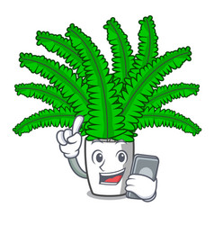 with phone fern frond frame decoration on cartoon vector image