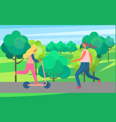 woman jogging in park and girl on kick scooter vector image