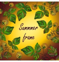 yellow raspberry frame vector image