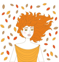 Young redhead woman vector