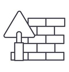 brick walldiy line icon sign vector image
