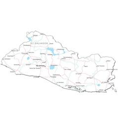 El Salvador Black White Map vector image vector image