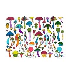 Fantastic mushrooms set sketch for your design vector image vector image