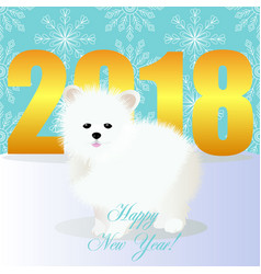 happy new year card with spitz vector image