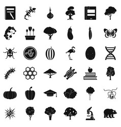 Microbial icons set simple style vector