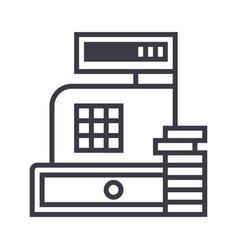 paymentcash register machine line icon vector image vector image