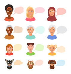 scared people face with speech bubbles vector image
