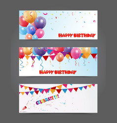 Birthday and celebration banner with colorful ball vector image vector image