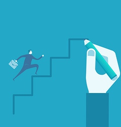 businessman run on drawing stairs vector image