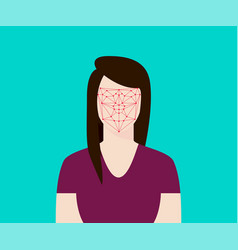 facial recognition women with face tracking point vector image