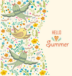floral card design flowersleaf and birds doodle vector image vector image