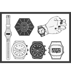 Hand watches set Electronic and classic vector image vector image
