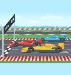Race cars on finish line sport background vector