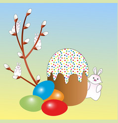 Easter eggs in assortment an Easter cake and a wil vector image vector image