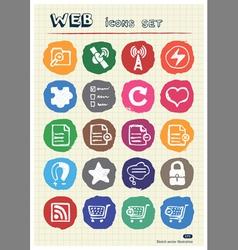 Doodle Internet web icons set vector image vector image