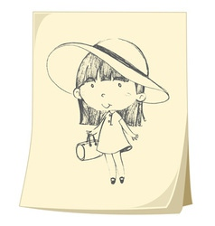 Girl sketched on paper vector image