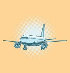 landing of a passenger plane vector image vector image