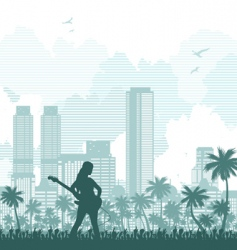 music and city background vector image vector image