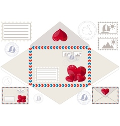 Scan to print an envelope stamped and hearts vector image vector image