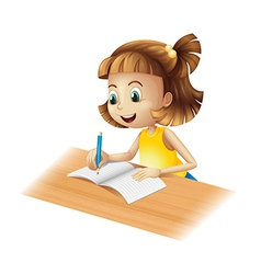 A happy girl writing vector