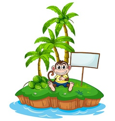 A monkey in the island with an empty signboard vector image