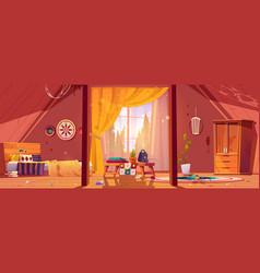 Abandoned bohemian bedroom messy boho interior vector