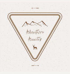 adventure awaits hand lettering with abstract vector image