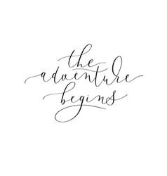 Adventure begins black and white hand written vector
