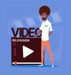 African american man over vlogger channel screen vector