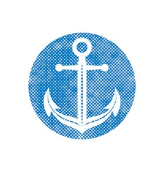 Anchor icon with pixel print halftone dots texture vector