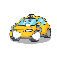 Angry taxi character mascot style vector