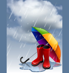 autumn background with rainbow umbrella and red vector image