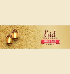 Awesome eid sale banner header with hanging vector