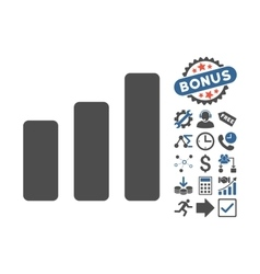 Bar Chart Increase Flat Icon With Bonus vector image vector image