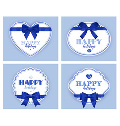 beautiful cards with gift bows and ribbon vector image
