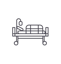 bed in hospital line icon concept bed in hospital vector image