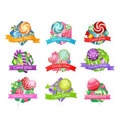 Big set candy shop items vector