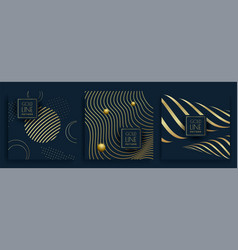 black and gold organic pattern golden line vector image