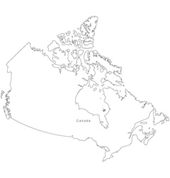 Black White Canada Outline Map vector